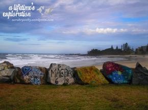 Port Macquarie, travel, australia, Oz, Aussie, art, rocks, sea, ocean, painting, beach